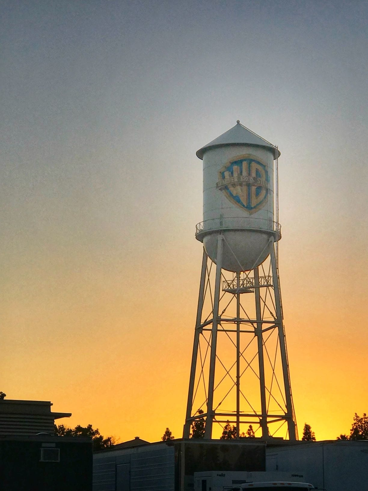 A close-up of the iconic Warner Bros. Studio tower during our backlot VIP tour