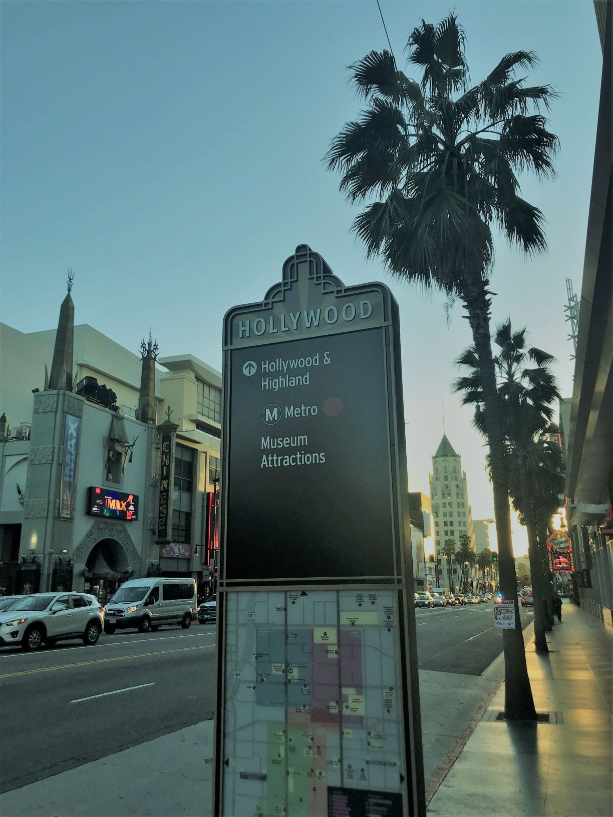 The famous Hollywood Boulevard immediately outside of our host hotel